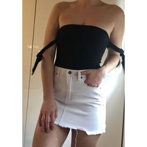 White Denim Skirt from Showpo